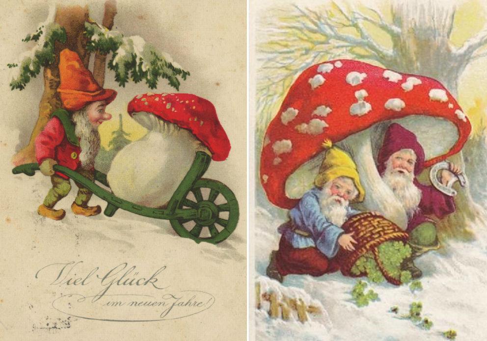 Régi karácsonyi üdvözlőkártya légyölő galócával Fly agaric galóca Amanita Muscaria gombával
