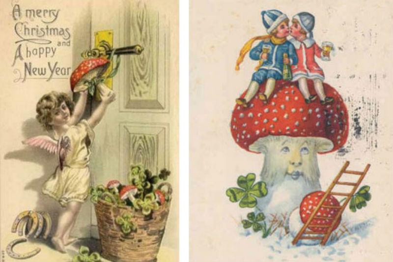 Régi karácsonyi üdvözlőkártyák légyölő galócákkal, hallucinogen, pszichedelikus, psylocibin gombákkal, fly agaric mushroom, Amanita muscaria