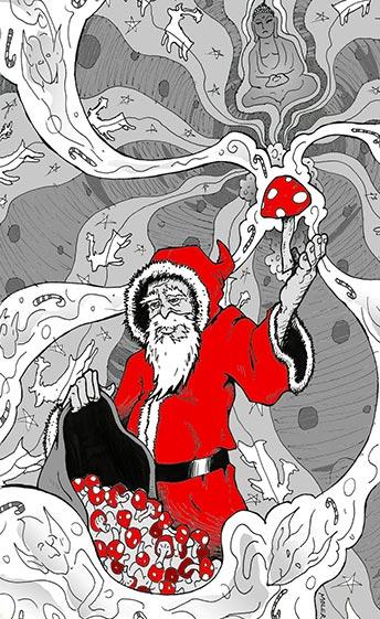 Sámán mikulás télapó pszichedelikus gomba hozó hallucinogén gombával karácsonykor